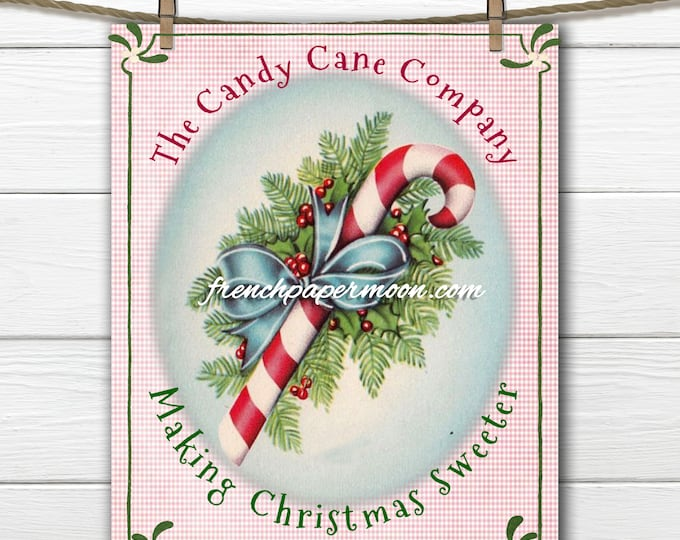 Vintage Shabby Pink Candy Canes, Gingham, Large Instant Digital Download, Printable Christmas Holiday Graphic Art Transfer
