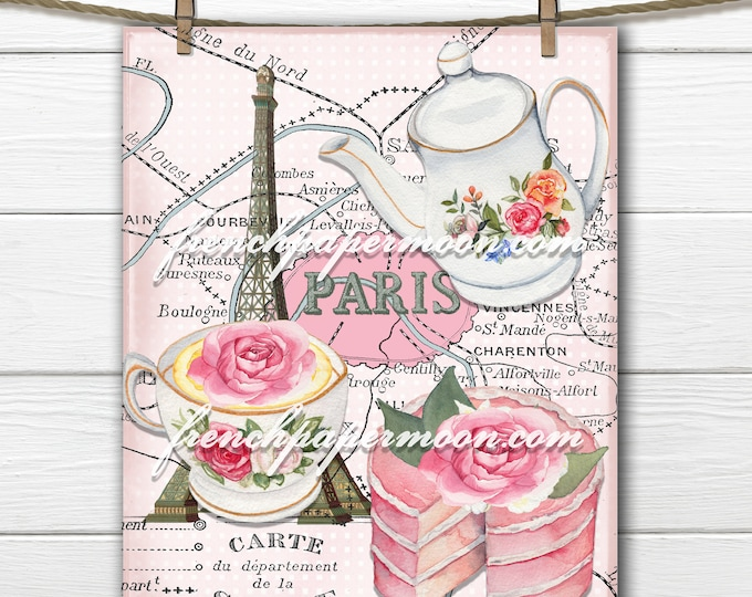 Shabby Teatime in Paris Digital, Pink Paris Printable, French Ephemera, Eiffel Tower, Vintage Paris Map, French Pillow Image, Large, Small