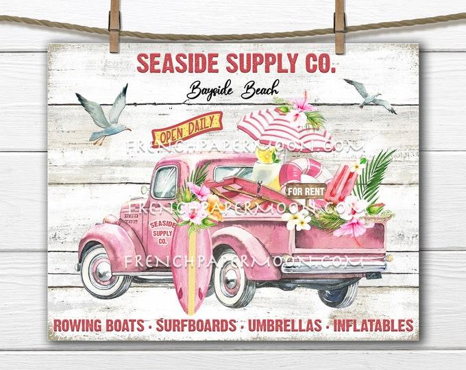 Pink Beach Truck, Digital, Farmhouse Coastal, Seaside Truck, DIY Beach Sign, Fabric Transfer, Pillow Image, Beach Decor, Wood, PNG