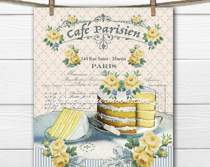Digital Shabby Vintage French Cafe, French Graphics, Vintage Cake, Roses, French Pillow Image, Fabric Block Transfer