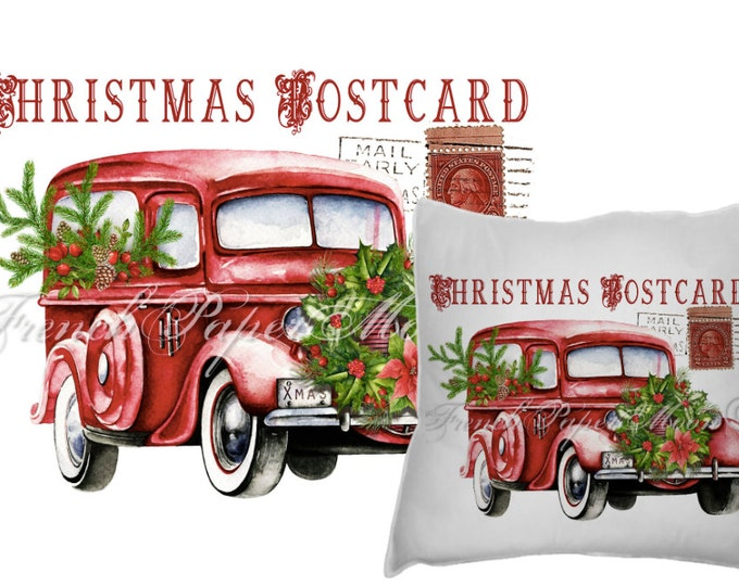 Digital Watercolor Christmas Truck, Red Retro Car, Vintage Auto, Xmas Wreath, Christmas Pillow Transfer, Image