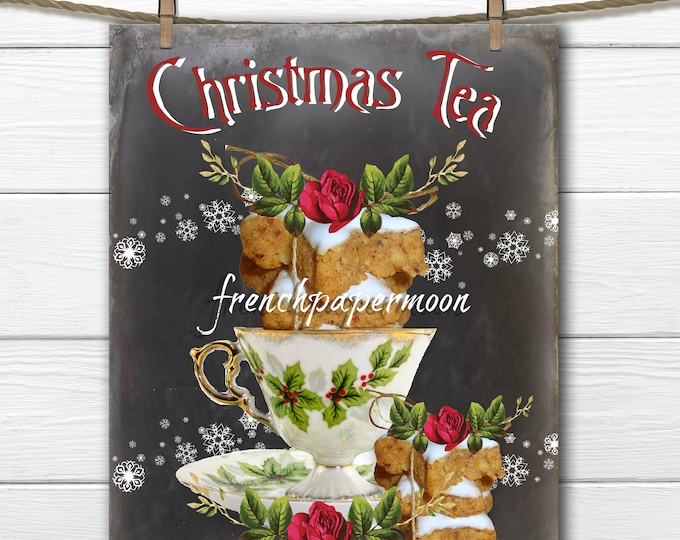Chalkboard Christmas Tea Digital Download, Christmas Teacup, Gingerbread Cookies, Christmas Pillows, Crafts