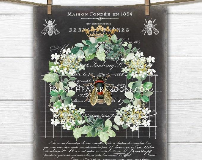 French Shabby Honey Bee, Digital, Wreath, Crown, Bee Ephemera, French Pillow Bee, Fabric Transfer, Transparent, Decoupage, Print