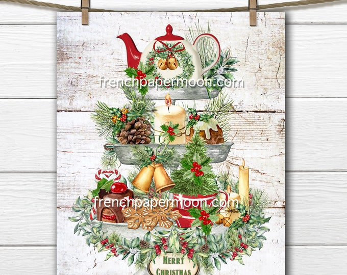 Christmas Tiered Tray Digital, Xmas Tiered Tray Print, DIY Xmas Sign, Sublimation, Xmas Tea, Pillow Image, Fabric Transfer, Wood, PNG