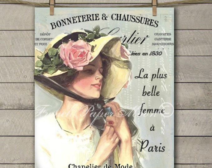 Shabby Chic Digital French Victorian Lady, Vintage Lady with Hat, Instant Digital Download Printable Graphic Art Transfer Image