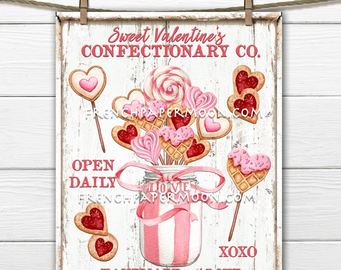 Valentine Confectionary, Valentine Sweets, DIY Pink Valentine Sign, Mason Jar, Cake Pops, Pillow Image, Wreath Attachment, Candy Bar, Wood