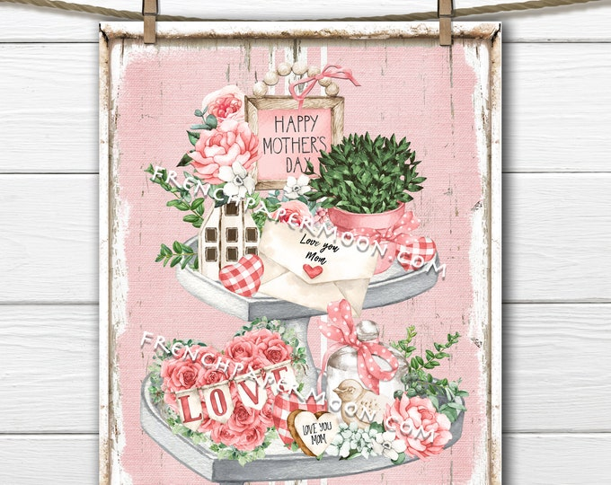 Mothers Day, Tiered Tray, Digital, Love Mom, Pink, Roses, Greenery, Wreath Attachment, Wall Decor, DIY Mothers Day Sign, PNG, Pillow Image