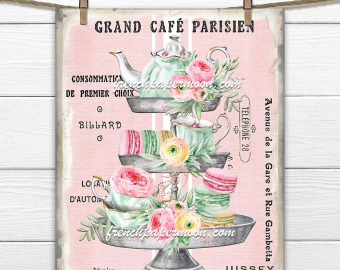 Shabby French Cafe Digital, Tiered Tray, Summer Tea, Teatime, Pastel Tea Pillow Image, Fabric Block, Fabric Transfer, Tea Party, Transparent