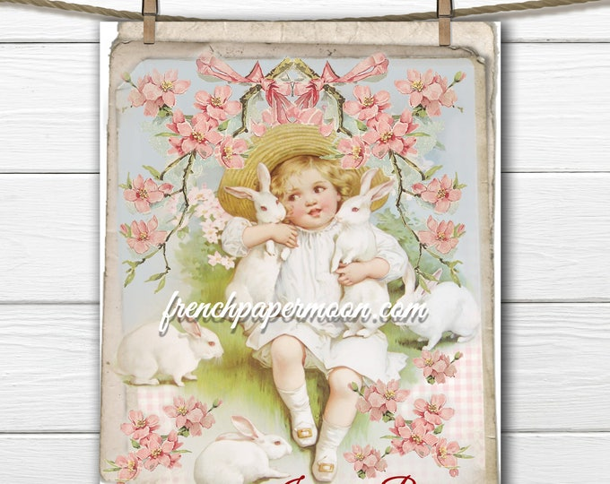 Adorable Shabby Vintage Bunny Girl Easter Bunnies Rabbits Large Image Instant Digital Download Printable Bunny Graphic Transfer