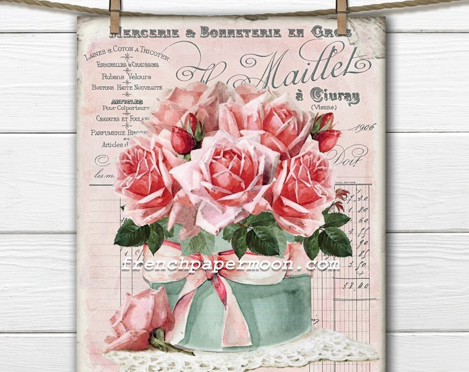 French Rose Flower Box Printable, French Graphic, Vintage Roses, French Pillow Image, Mothers Day Crafts, Transparent, Digital