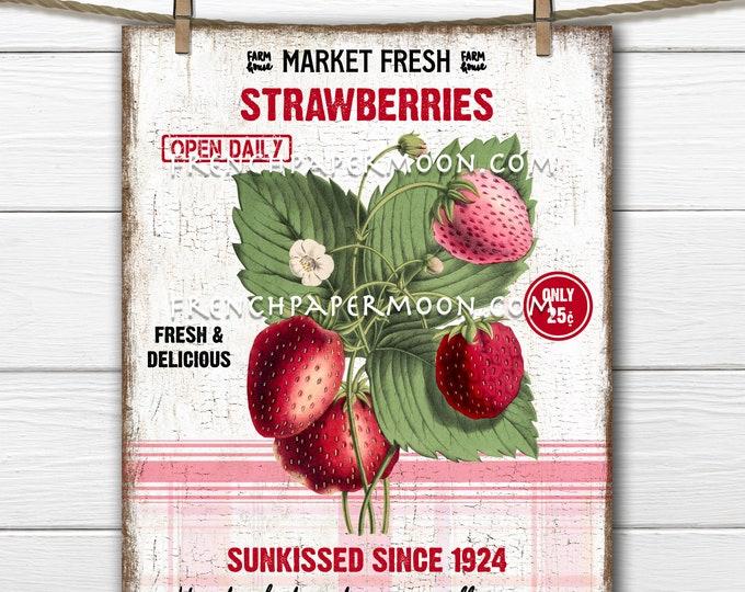 Strawberries, Modern Farmhouse, Digital, Botanical, Farm Strawberries, Plaid, PNG, Wood, Fabric Transfer, Tiered Tray Decor, Fruit SIGN