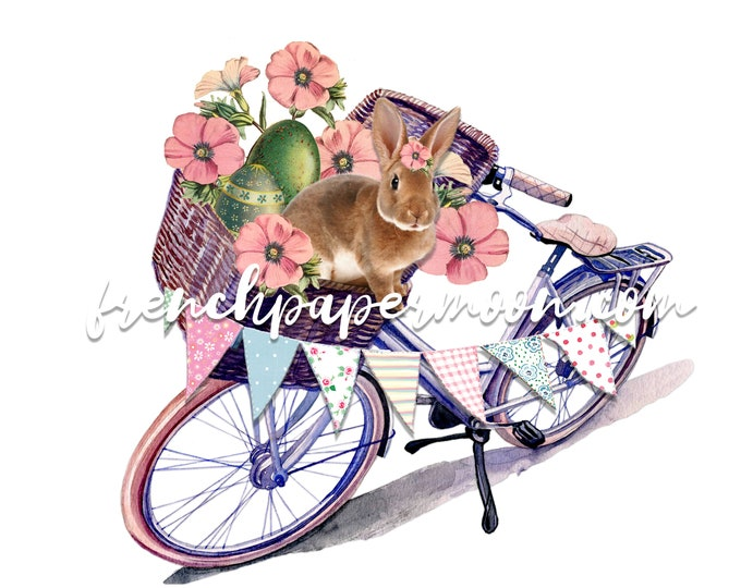 Shabby Bunny Bike Print, Easter Rabbit, Spring Bunny, Vintage Flowers, Bicycle Basket, Easter Pillow Image, Sublimation, Crafts, Transparent