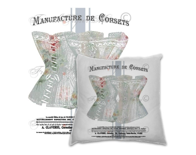 Shabby French Iron on Corset Graphic, Manufacture De Corsets, Corset Transfer, French Pillow Corset Transfer