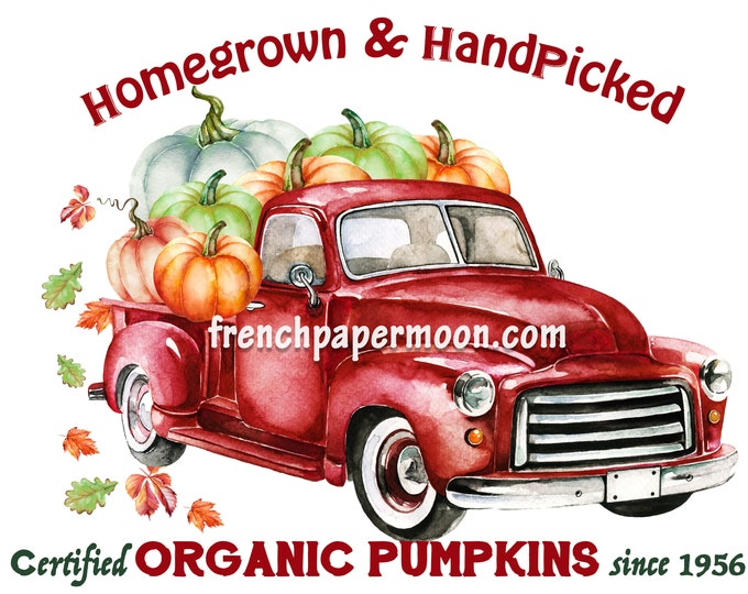 Digital Fall Farm Truck, Organic Pumpkins, Red Pickup, Pillow Transfer, Fabric Block Printable Graphic, Fall Crafts