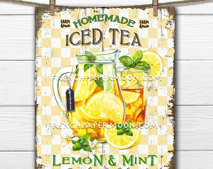 Farmhouse Iced Tea, Digital, Lemon Tea, Summer Drink, Sweet Tea, DIY Iced tea Sign, Wreath Decor, Pillow Image, Tiered Tray Decor, Wood, PNG