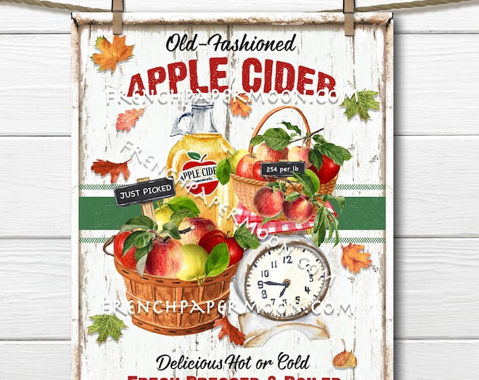 Old-fashioned Apple Cider, Digital, Farmhouse Cider, Autumn Apples, Apple Baskets, DIY Apple Cider Sign, Image Transfer, Wreath Accent, PNG