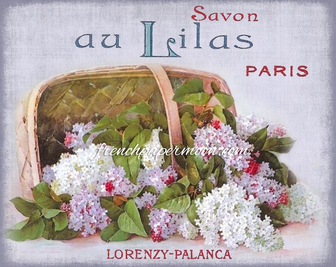 Shabby French Floral Soap Digital Image, Basket of Lilacs, Antique Flowers, Large Image, Instant Download, Crafts