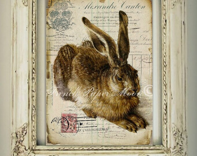 French Bunny Digital, Shabby Vintage Rabbit, French Receipt, Decoupage, French Digital Pillow Transfer, Easter Bunny Digital Graphic
