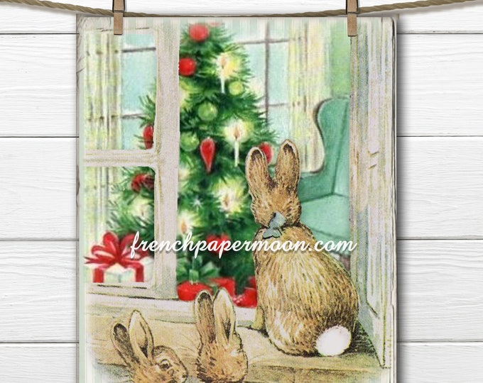 Digital Beatrix Potter Christmas Bunnies, Bunnies by the Window, Christmas tree, Christmas Crafts, Printable Xmas Graphic