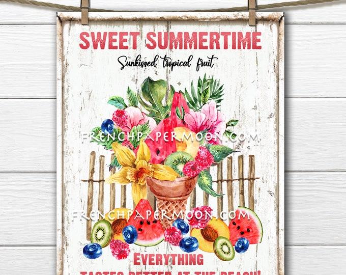Summer Fruit, Tropical Fruit, Digital, Tropical Summer, Digital, Beach, Floral Ice Cream Cone, Fabric Transfer, Pillow Image, Wreath Decor