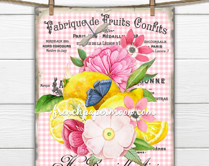 French Lemon Print, Vintage Pink Flowers, Summer Lemons, Fabric block, Print on Fabric, French Fruit Graphic, Pillow Image, Transparent