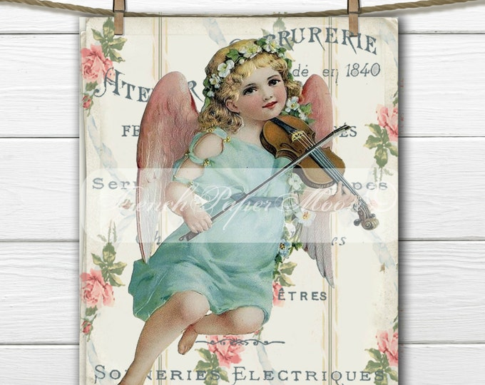 Vintage digital Angel Image, Cherub with Roses, Victorian Angel, French Typography, French Craft Image Transfer