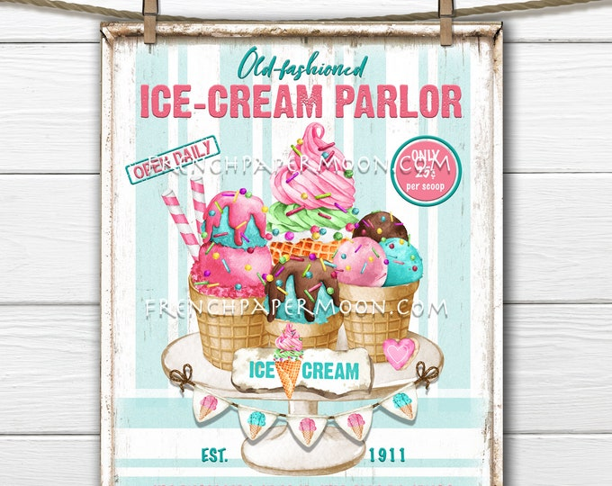 Retro Ice Cream Parlor, Ice Cream Sign, Ice Cream Party, Summer Dessert, Treats, Pillow Image, Sublimation, PNG, Wood, Fabric Transfer