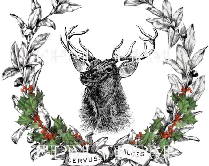 Digital Christmas Reindeer, Digital Wreath, Vintage Christmas Pillow Image, Printable Christmas Reindeer