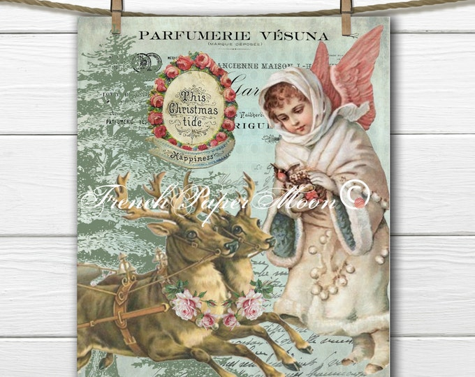 Adorable Vintage Christmas Angel and Reindeer, Digital, French Graphic Christmas Image, Instant Download