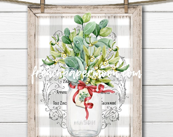 Christmas Greenery Bouquet, Mason Jar, Winter Greens, Mistletoe, Eucalyptus, Pillow Image, DIY Xmas Sign, Plaque, French Country, PNG