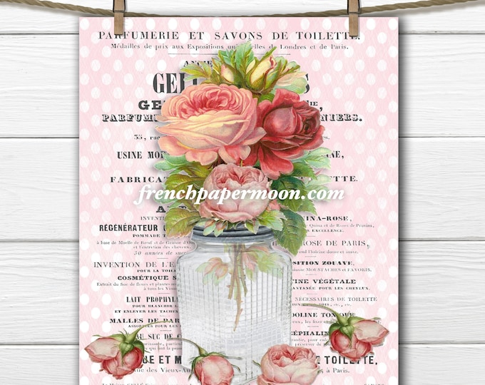 Vintage Digital Rose Bouquet French Graphics Pillow Image Graphic Transfer Craft Supply Vase of Flowers
