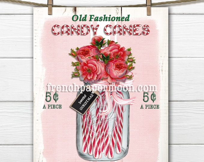 Candy Cane, Old Fashioned, Hand Rolled, Christmas Candy, Pink Xmas Printable, Roses, Pillow Image, Crafts, Christmas Print, Decor, Sign