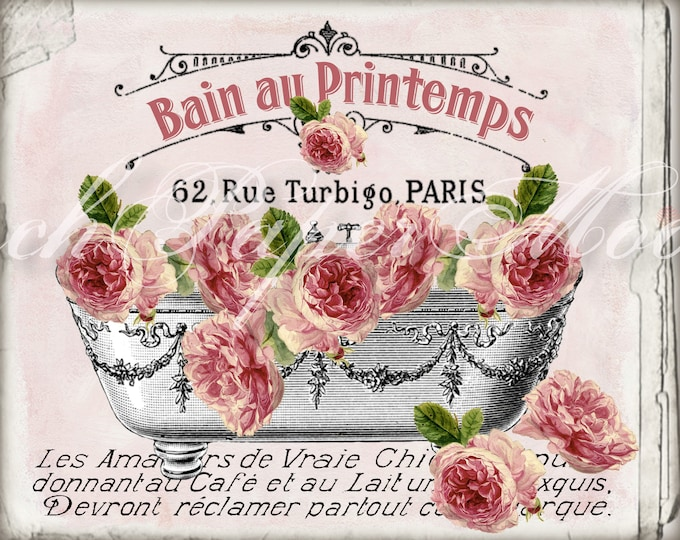 Shabby FRENCH BATHTUB ROSES, Spring, Printemps, Salle de Bain, French Bathroom Decor Digital Download, Image Transfer