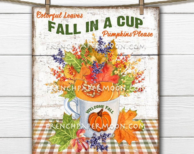 Fall Leaves, Autumn Leaves, Cup of Leaves, Pumpkin, DIY Fall Sign, Leaf Arrangement, Wreath Accent, Wall Decor, Fabric Transfer, PNG
