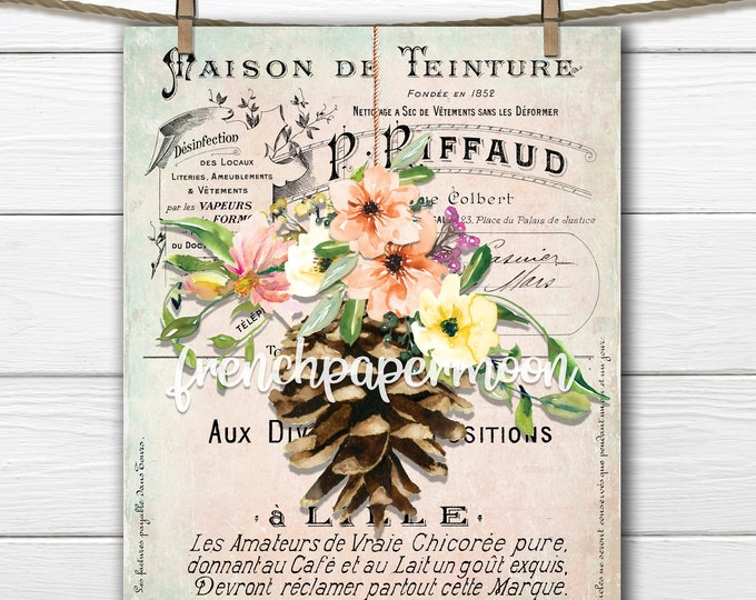 French Pinecone Fall Printable, Shabby Autumn, Autumn Flowers, Pillow Image, Printable fall Sign, Craft Supply, Instant Download, PNG JPEG