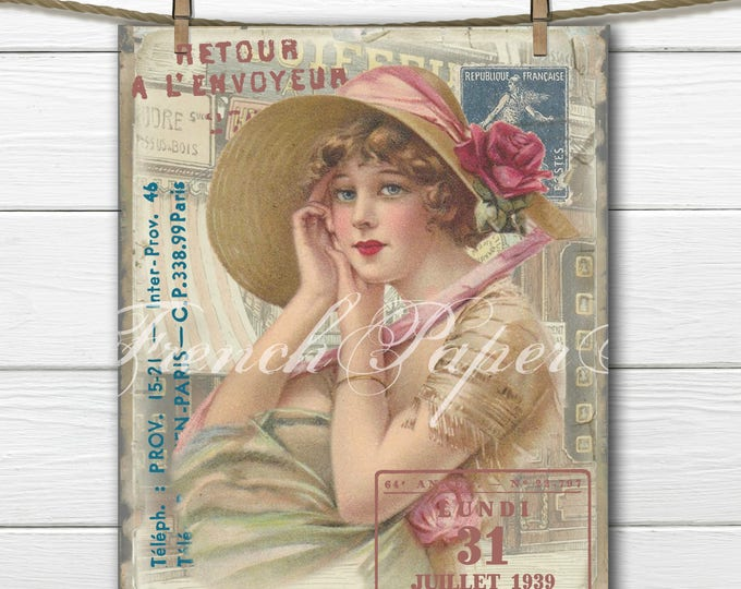 Vintage Shabby Chic Parisian Lady, Vintage Paris Collage Sheet, Passport Stamps, Streets of Paris, French Cushion Image, Fabric Transfer