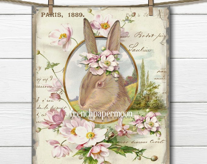 Vintage Shabby French Bunny Printable Vintage Easter Bunny Flowers Large Image Graphic Transfer French Pillow Image