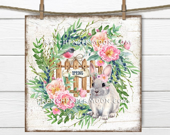 Spring Floral Wreath, Rose Floral Wreath, Spring Bunny, Shabby Bunny, Wreath Decor, Pillow Image, DIY Spring Sign, 4x4, 8x8, PNG, Wood