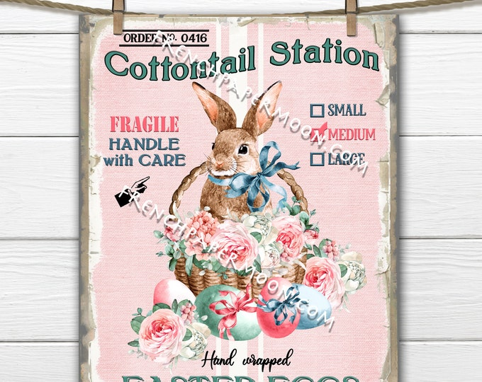 Farmhouse Easter Bunny, Easter Eggs, Digital Sign, Bunny Basket, DIY Easter Sign, Pillow Image, Fabric Transfer, Wreath Attachment, PNG