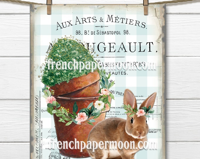 Vintage Easter Bunny Floral Graphic, Flower Pots, French Ephemera, Rose Wreath, Plaid, Sublimation, Pillow Image, Spring Crafts