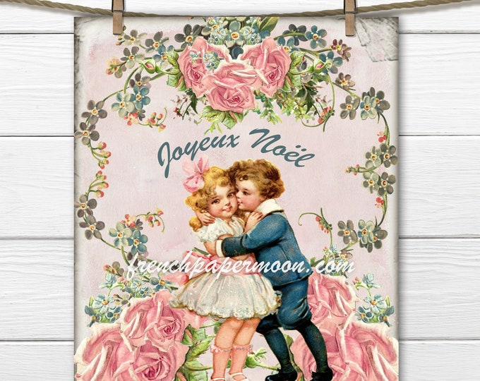 Vintage Shabby Pink Christmas, Mistletoe, Roses, Vintage Children, christmas Crafts, Printable Images