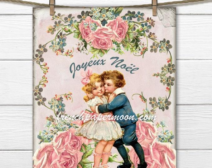 Vintage Shabby Pink Christmas, Mistletoe, Roses, Vintage Children, christmas Crafts, Printable Images