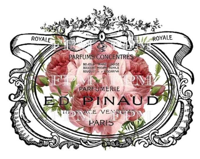 Shabby Chic Digital Roses, French Pillow Image, French Perfume Digital Sheet, French Perfume Printable, French Pillow Graphic Transfer