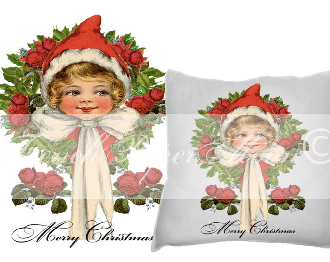 Digital Shabby Vintage Christmas Girl with Red Rose Wreath, Instant Download Christmas Pillow Image, Graphic Transfer Printable