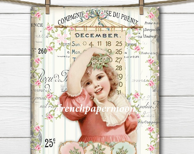 Victorian December Calendar Girl, Shabby Christmas, Mistletoe, Xmas Digital Graphic, Fabric Transfer, Christmas Crafts