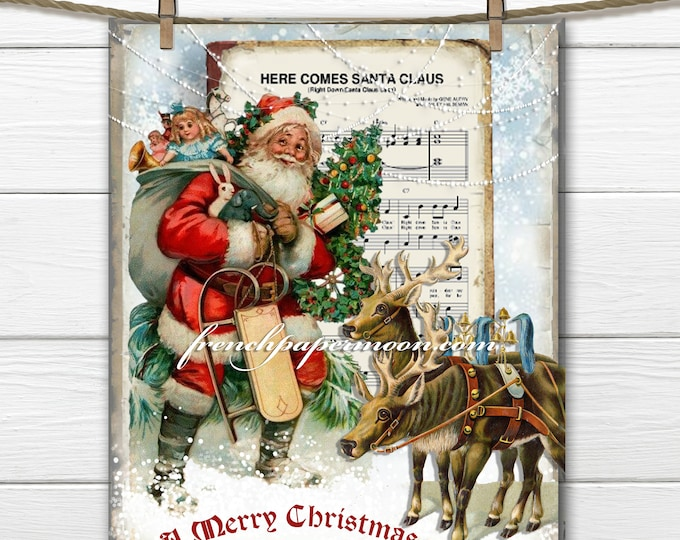 Vintage Santa and Reindeer, Digital Holiday Graphic, Christmas Pillow Image, Christmas Crafts, DIY Christmas