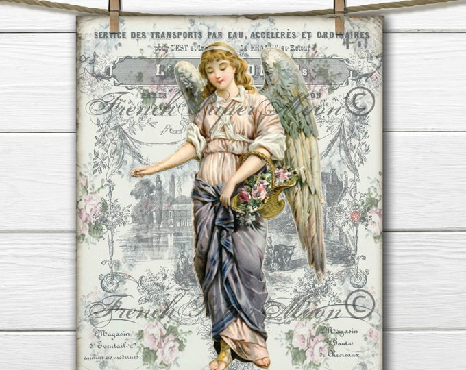 Shabby Victorian Angel Digital Image, French Graphic Angel Printable, French Pillow Image, Instant Download Digital Art