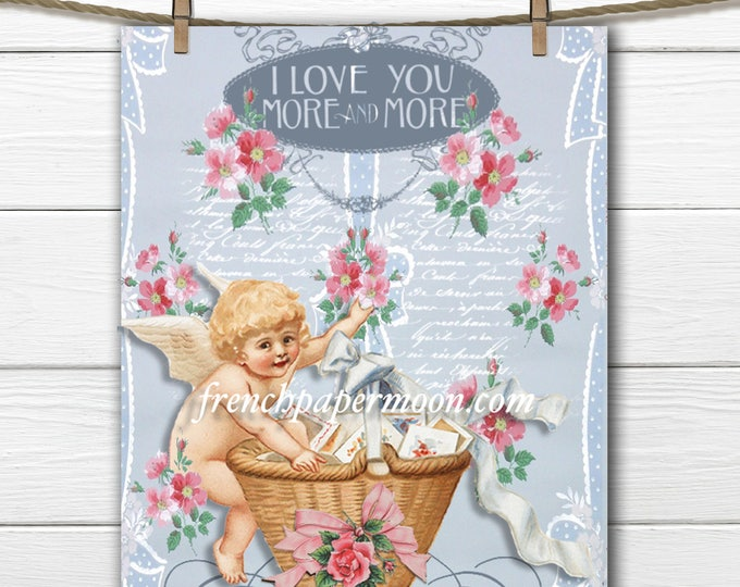 Digital Valentine Cupid, Roses, French graphics, Large Size, Instant Download Graphic Transfer, Crafts, Pillows