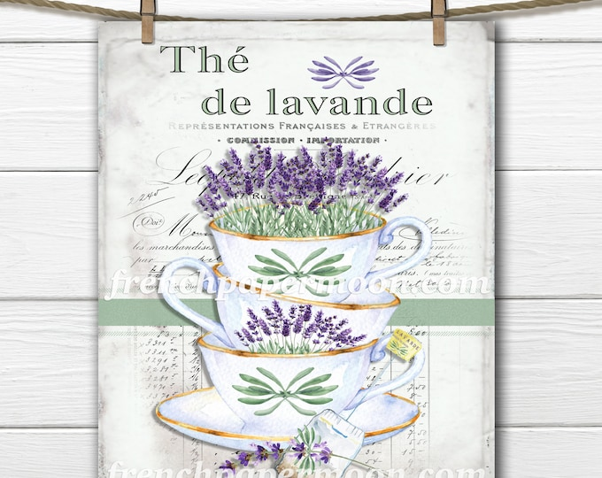 French Shabby Lavender Tea, Fabric Block Printable, Image Transfer, Teacups and Lavender, Large Size French Pillow Image, Decoupage
