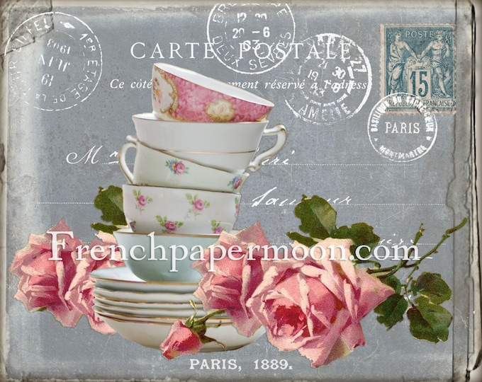 Shabby French Tea Graphic Printable, Teacups, Roses, French Receipt, Chalkboard, Teatime, Spring,Kitchen Digital, Home Decor